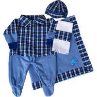 Kit I9 Baby Saída Maternidade 5 Peças Inverno Xadrez Azul