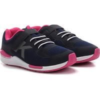 Tênis Infantil Kidy Style Velcro Feminino - Feminino-Marinho+Pink