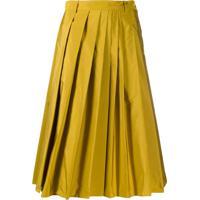 Aspesi Saia Cintura Alta Com Pregas - Amarelo