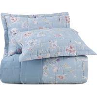 Conjunto De Colcha Floral Essence King Size- Azul Claro Altenburg