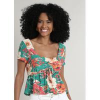 Blusa Feminina Cropped Estampada Floral Com Amarração Manga Curta Decote Redondo Verde