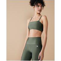 Amaro Feminino Top Fitness Pilates, Verde Metalizado
