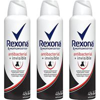 Kit Desodorante Rexona Women Aerosol Antibacterial + Invisible Feminino 150Ml 3 Unidades - Feminino