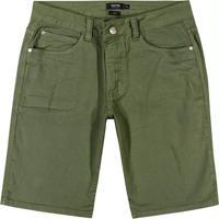 Bermuda Verde Slim Em Sarja Rústica
