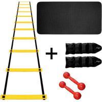 Kit Colchonete Eva Azul 20Mm + Par Halter 3Kg + Par Caneleira 3Kg + Escada Agilidade Nylon - Unissex