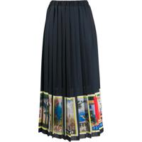 Ultràchic Pleated Holidays Print Skirt - Preto