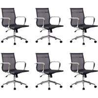 Conjunto Com 6 Cadeiras De Escritório Eames Diretor Star Preto