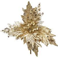 Flor Decorativa Poinsettia- Bege Claro & Dourada- 20Cromus