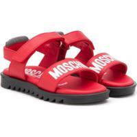 Moschino Kids Sandália Com Logo - Vermelho