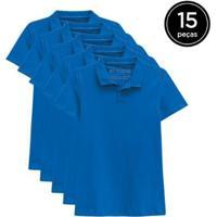 Kit 15 Camisas Polo Basicamente Feminino - Feminino-Azul Claro