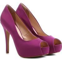 Peep Toe Shoestock Festa Meia Pata Embutida - Feminino-Pink