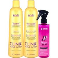 Kit Shampoo Richée Clinic Repair + Condicionador E Bb Magie - Feminino-Incolor