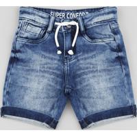 Bermuda Jeans Infantil Em Moletom Com Cordão Azul Médio