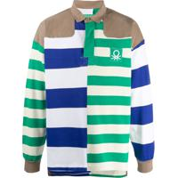 Benetton Camisa Polo Listrada - Branco