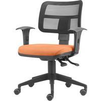 Cadeira Zip Tela Assento Crepe Coral Base Rodizio Piramidal Em Nylon - 54411 - Sun House