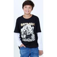 Camiseta Juvenil Estampa Batman Manga Longa Liga Da Justiça