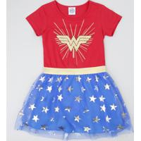 Vestido Infantil Carnaval Mulher Maravilha Com Tule Estampado De Estrelas Vermelho