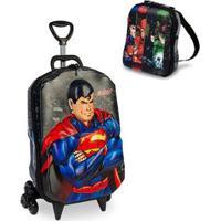 Kit Mochila Liga Da Justiça Superman 3D Com Rodinhas+ Lancheira Maxtoy - Masculino-Preto