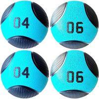 Kit 4 Medicine Ball Liveup Pro 4 E 6 Kg Bola De Peso Treino Funcional - Unissex