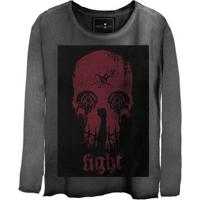 Camiseta Estonada Manga Longa Skull Fight
