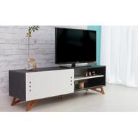 Rack Tv Preto Moderno Vintage Retrô Com Porta De Correr Branca Freddie - 160X43,6X48,5 Cm
