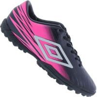 Chuteira Society Umbro Hit Tf - Adulto - Azul Esc/Rosa