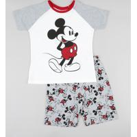 Pijama Infantil Mickey Raglan Manga Curta Off White