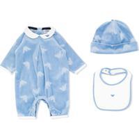 Emporio Armani Kids Conjunto De Macacões Com Estampa De Logo - Azul
