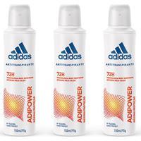 Kit 3 Desodorantes Adidas Adipower Aerossol Feminino 150Ml - Feminino-Incolor