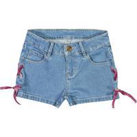 Short Jeans Com Amarração- Azul & Rosa- Marisolmarisol