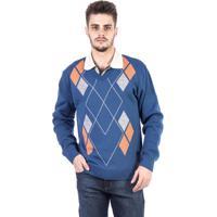 Blusa Tricot Carlan Decote V Losango Masculina - Masculino-Azul