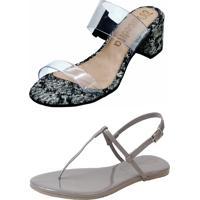 Kit Sandália Tamanco Salto E Rasteira Mercedita Shoes Cristal Com Cobra Chumbo E Verniz Chumbo