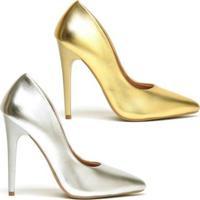 Kit Scarpin Ellas Online Salto Alto Metalizado 2 Pares - Feminino-Dourado