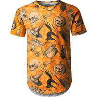 Camiseta Longline Over Fame Halloween Laranja