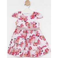 Vestido Floral Texturizado- Rosa Claro & Rosagabriela Aquarela
