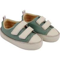 Tênis Infantil Couro Catz Calçados Noody Velcro - Unissex-Verde+Branco