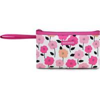 Nã©Cessaire Com Alã§A Floral P- Rosa Escuro & Branca- Jacki Design