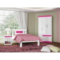 Dormitório Solteiro Star Branco/Fúcsia Santos Andirá