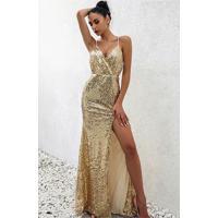 Vestido De Festa Longo Dourado Glam