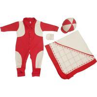 Kit I9 Baby Saída Maternidade 4 Peças Glamour Vermelho