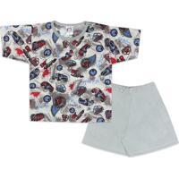 Pijama Infantil 2 Peças Carros Branco E Cinza Jucatel