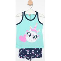 Pijama Unicórnio - Verde Água & Azul Marinhopuket