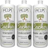 Kit Cachos Azeite De Abacate Felps Shampoo 500Ml+Condicionador 500Ml+Ativador 500Ml - Tricae