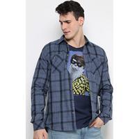 6c1c8d515b Camisa Xadrez Colcci Slim Fit Indigo Masculina - Masculino-Jeans