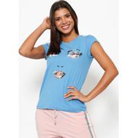 Camiseta Rosto - Azul & Branca- Club Polo Collectionclub Polo Collection