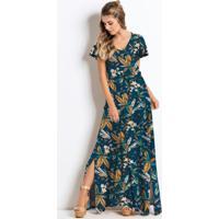 Vestido Longo Com Fendas Floral Azul