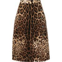 Dolce & Gabbana Saia Evasê Animal Print - Marrom