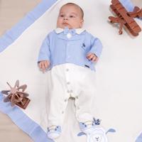 Saída De Maternidade Fofinho Social Príncipe Bege E Azul