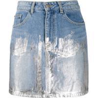 Sjyp Saia Jeans Com Estampa Metálica - Azul