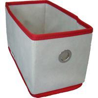 Caixa Organizadora Com Ilhós 14X15X28Cm Organibox Bege/Vermelho